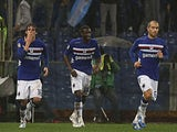 Andrea Poli celebrates moments after scoring for Sampdoria on November 25, 2012