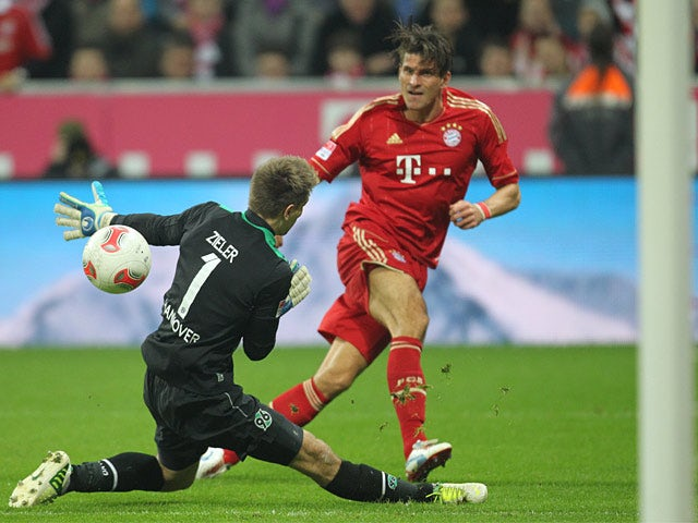 Mario Gomez scores Bayern Munich's fifth goal on November 24, 2012