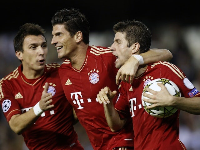 Bayern players celebrate a goal on November 20, 2012