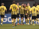 An assortment of Borussia Dortmund players celebrating on November 21, 2012