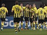 An assortment of Borussia Dortmund players celebrating on November 21, 2012