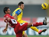 Chievo's Cyril Thereau and Siena's Simone Vergassola battle for the ball on November 25, 2012