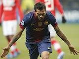 Dani Alves celebrates Barcelona's second goal on November 20, 2012