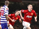 Man Utd midfielder Darren Fletcher wheels away after scoring the second versus QPR on November 24, 2012