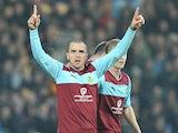 Burnley's Dean Marney celebrates his opener against Hull City on November 24, 2012