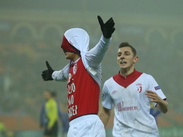 Lille's Gianni Bruno celebrates a goal versus BATE on November 20, 2012