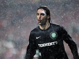 Celtic striker Giorgos Samaras reacts to his equaliser versus Benfica on November 20, 2012
