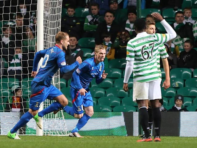 Inverness Caledonian Thistle's William McKay celebrates moments after scoring against Celtic on November 24, 2012