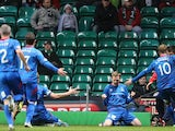 Inverness Caledonian Thistle's William McKay celebrates his goal with teammates on November 24, 2012