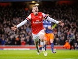Jack Wilshere celebrates scoring for Arsenal on November 21, 2012