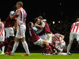 Joey O'Brien celebrates scoring the equaliser for West Ham on November 19, 2012