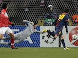 Lionel Messi opens the scoring against Spartak on November 20, 2012