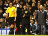 Mark Clattenburg on the touchline as fourth official during the Tottenham vs West Ham match on November 25, 2012