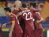Pablo Osvaldo celebrates scoring for Roma on November 19, 2012