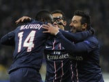 Paris Saint-Germain players celebrate on November 21, 2012