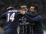 Paris Saint-Germain players celebrate on November 21, 2012