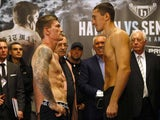 Ricky Hatton and Vyacheslav Senchenko in the stare-down on November 23, 2012
