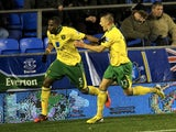 Norwich defender Sebastian Bassong celebrates his last gasp equaliser on November 24, 2012