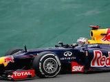 Sebastian Vettel steers his car during the Brazilian GP at Interlagos on November 25, 2012