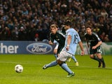 Sergio Aguero takes the penalty for Man City on November 21, 2012