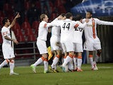 Shakhtar players celebrate a goal against Nordsjalland on November 20, 2012