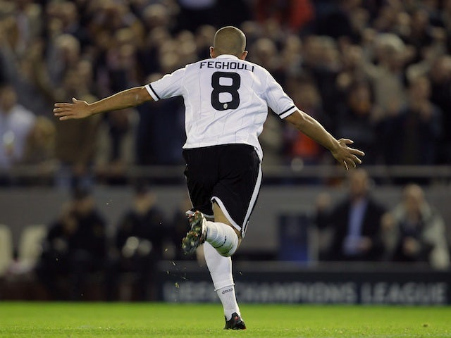 Sofiane Feghouli celebrates his goal for Valencia on November 20, 2012