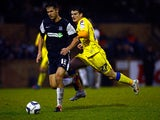 Southend's Mark Phillips and Rochdale's Terry Cornell battle for the ball on November 24, 2012