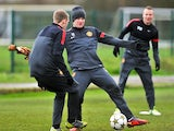 Wayne Rooney in training on November 19, 2012