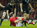 Wales's Aaron Jarvis sustains a knee injury against New Zealand on November 24, 2012