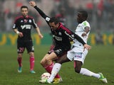 Marseille's Morgan Amalfitano and Brest's Abdoulwahid Sissoko battle for the ball on December 2, 2012