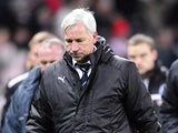 Newcastle United manager Alan Pardew shows his disappointment after losing against Stoke City on November 28, 2012
