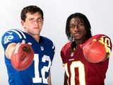 Andrew Luck and Robert Griffin III pose together in a photoshoot in May 2012