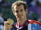 Team GB's Andy Murray celebrates his Mens Singles gold at London 2012 on August 5, 2012
