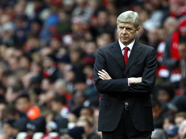 Arsenal manager Arsene Wenger on the touchline in the match against Swansea City on December 1, 2012