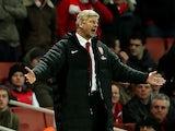 A frustrated Arsene Wenger on the touchline on December 1, 2012