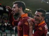 AS Roma's Mattia Destro celebrates after scoring his team's third goal on December 2, 2012