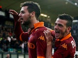 AS Roma's Mattia Destro celebrates after scoring his team's third goal on December 2, 2012
