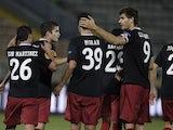 Athletic Bilbao players celebrate on November 28, 2012