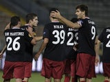 Athletic Bilbao players celebrate on November 28, 2012