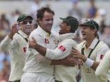 Australia celebrate against South Africa on November 30, 2012