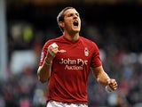 Nottingham Forest's Billy Sharp celebrates after scoring the equaliser against Hull City on December 1, 2012