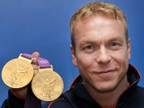 Chris Hoy with his two London 2012 gold medals on August 7, 2012