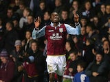 Christian Benteke celebrates scoring the winner for Aston Villa on November 27, 2012