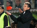 Nice coach Claude Puel gestures to his players on the touchline on December 1, 2012