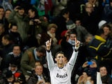 Real Madrid's Cristiano Ronaldo celebrates after scoring the opener for his team on December 1, 2012