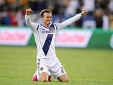 David Beckham celebrates after the final whistle after his team beat Houston Dynamo to win the MLS Cup Final on December 2, 2012