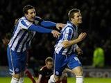 Dean Hammond celebrates scoring for Brighton on November  27, 2012