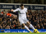 Gareth Bale scores Tottenham's second goal on November 28, 2012