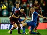 David Jones and Gareth Barry battle for the ball on November 28, 2012