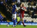 Middlesbrough's Grant Leadbitter celebrates scoring on November 30, 2012